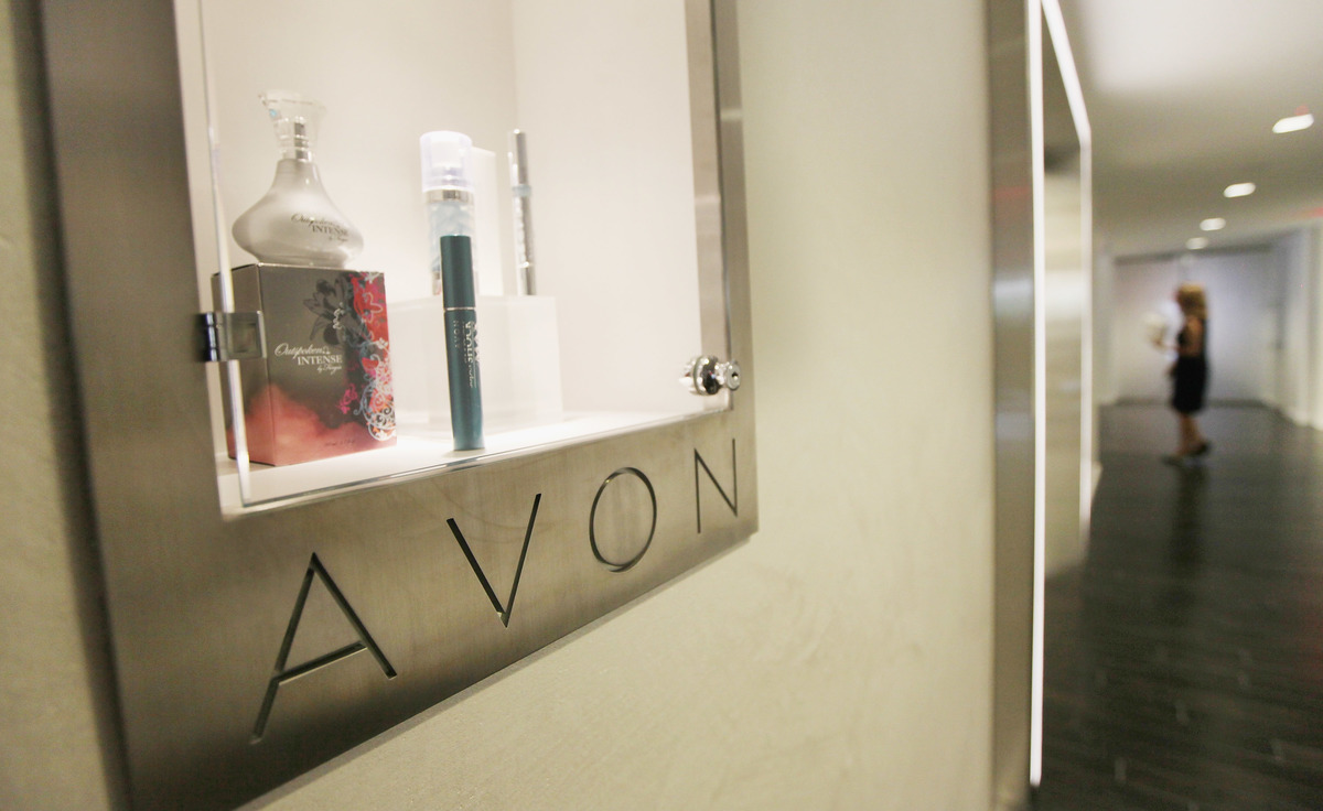 Avon products are displayed inside the newly completed U.S. headquarters for Avon Products Inc.