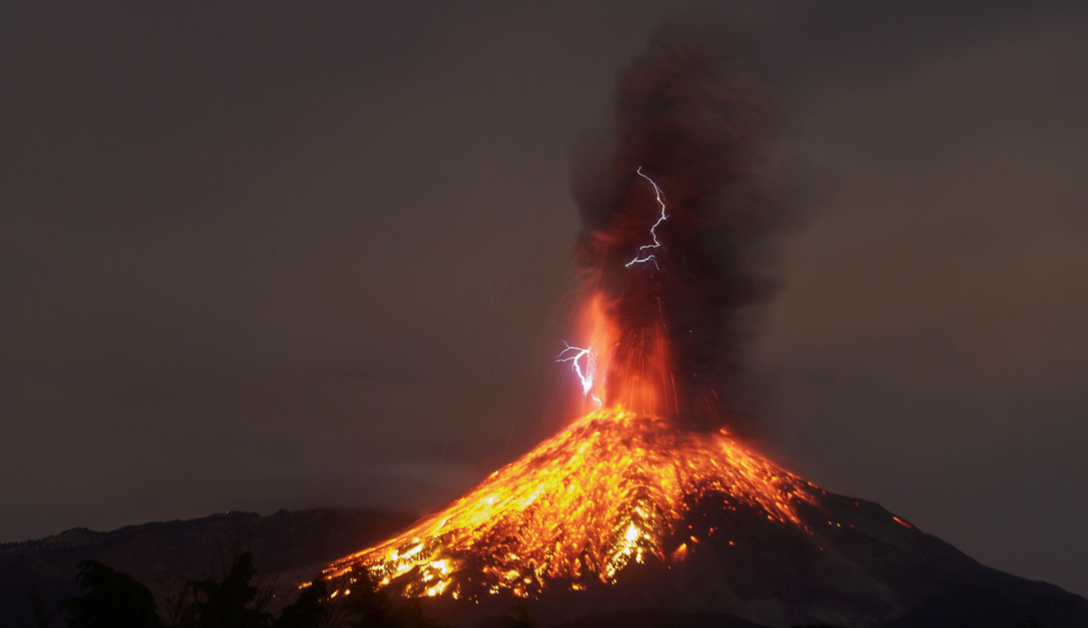 Colima volcano erupts and spurts volcanic lightning in Colima State, Mexico