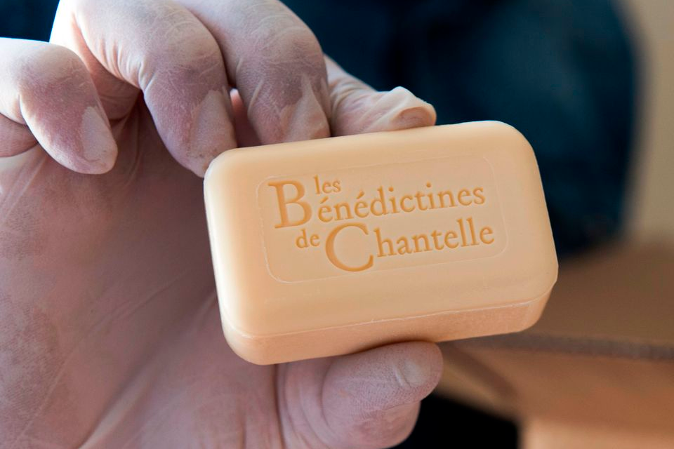 holding bar soap at the Saint-Vincent abbey in Chantelle