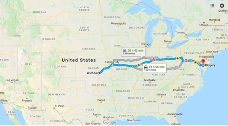 Google maps outlined Zach's trip from Ridgely, Maryland to Wichita, Kansas