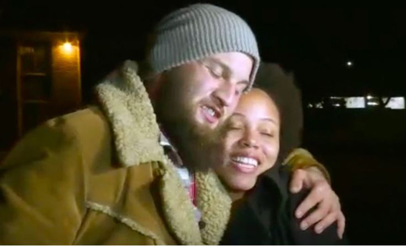 Ikea and Zach hug on KWCH news after Zach returns her dog