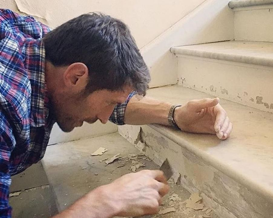 JB plastering and painting the staircase