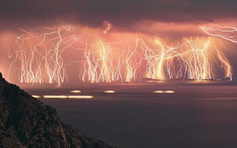 Lightning strikes at the mouth of the Catatumbo River, Venezuela