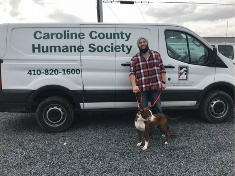 Zach and Zimba prepare for their road trip in a Caroline County Humane Society van