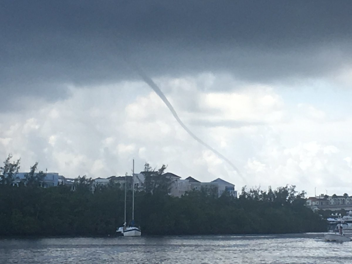 a waterspout forming near the Indiana Rvier