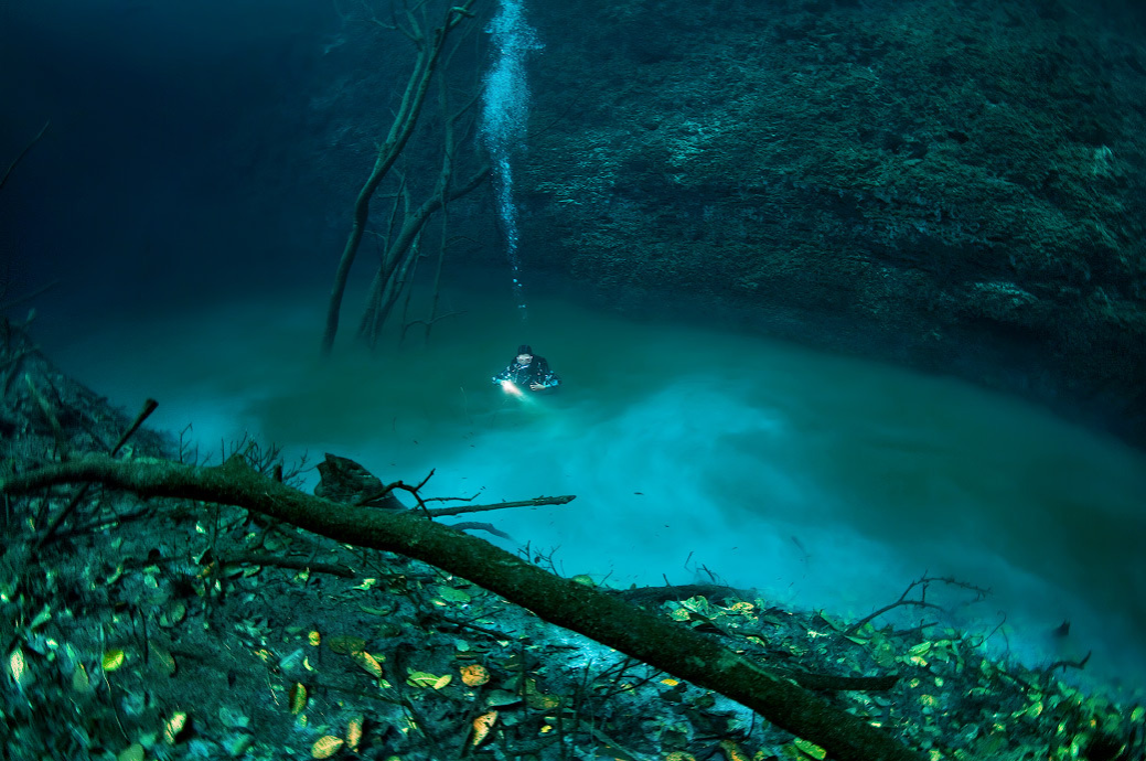 diver in Cenote Angelina's underwater river