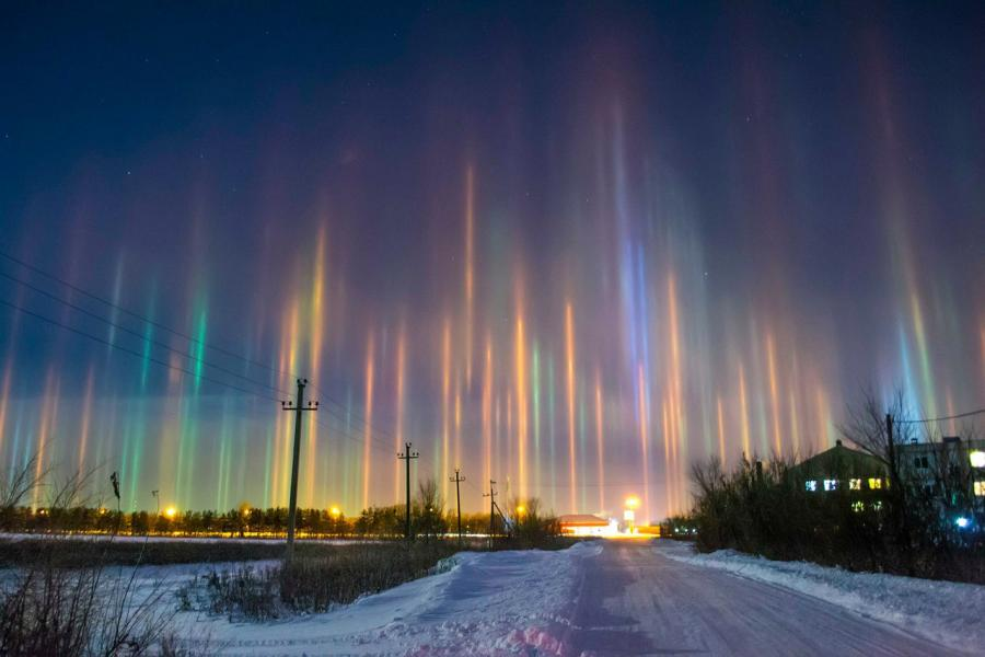 light pillars seen in the distance in Russia