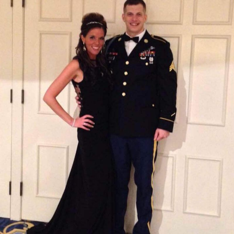 mandi and tyler dressed up to go to officers ball