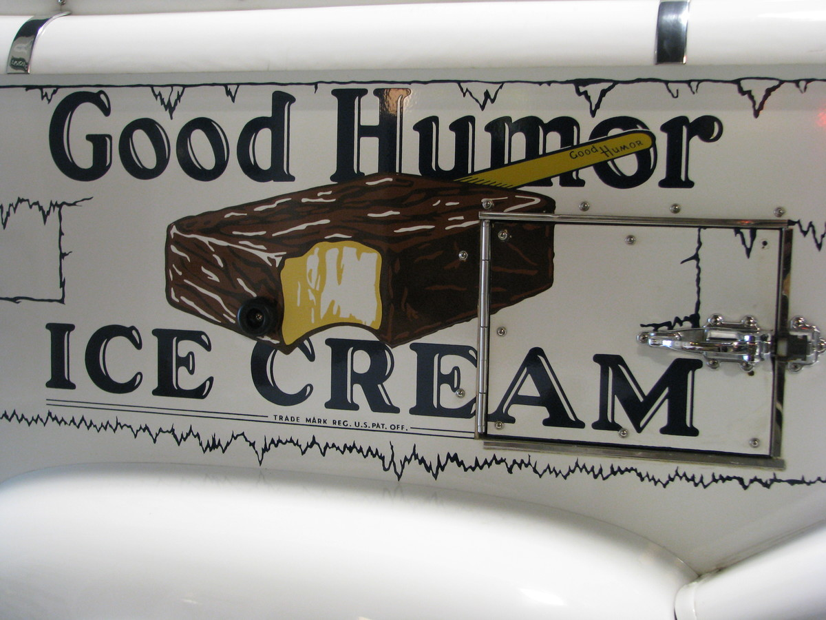 a photo of a good humor ice cream bar on the side of a truck.