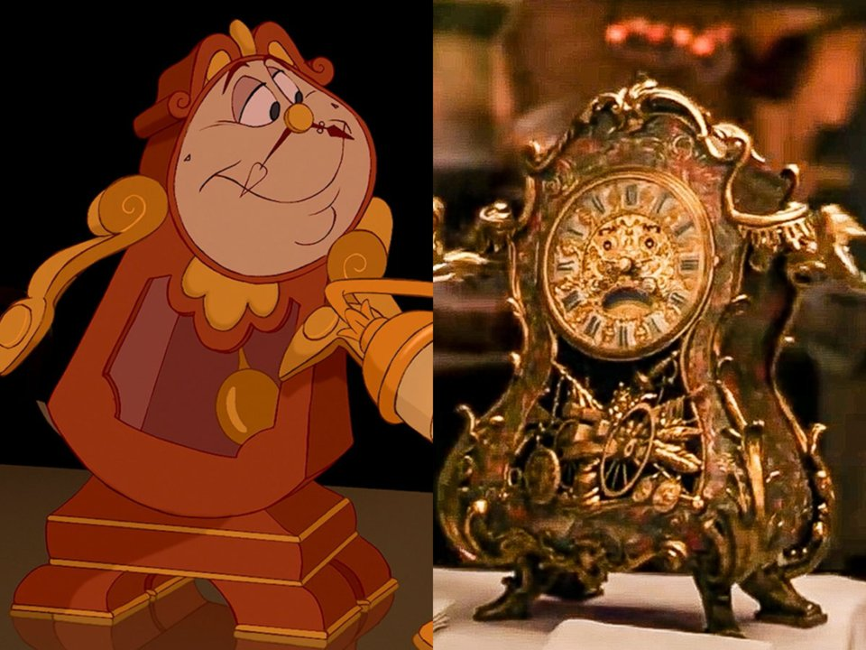 animated and live action clocksworth in beauty and the beast