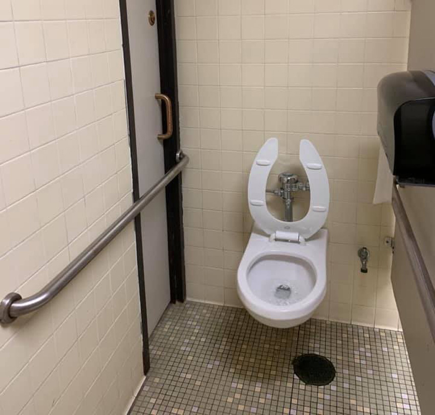 toilet you have to hop over bar just to use