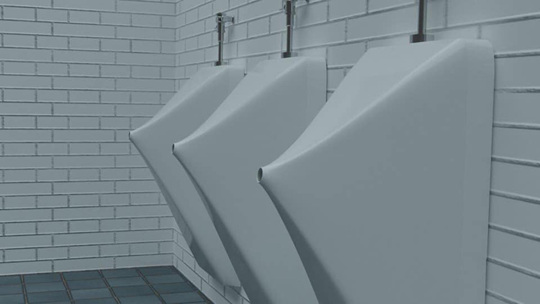 bathroom with crazy urinals from the future