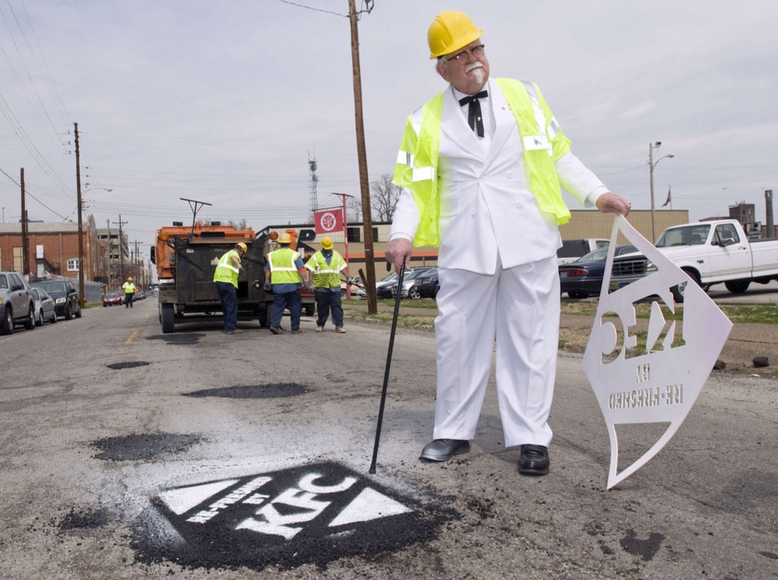 Colonel Sanders of KFC filled 350 potholes in Louisville, Kentucky