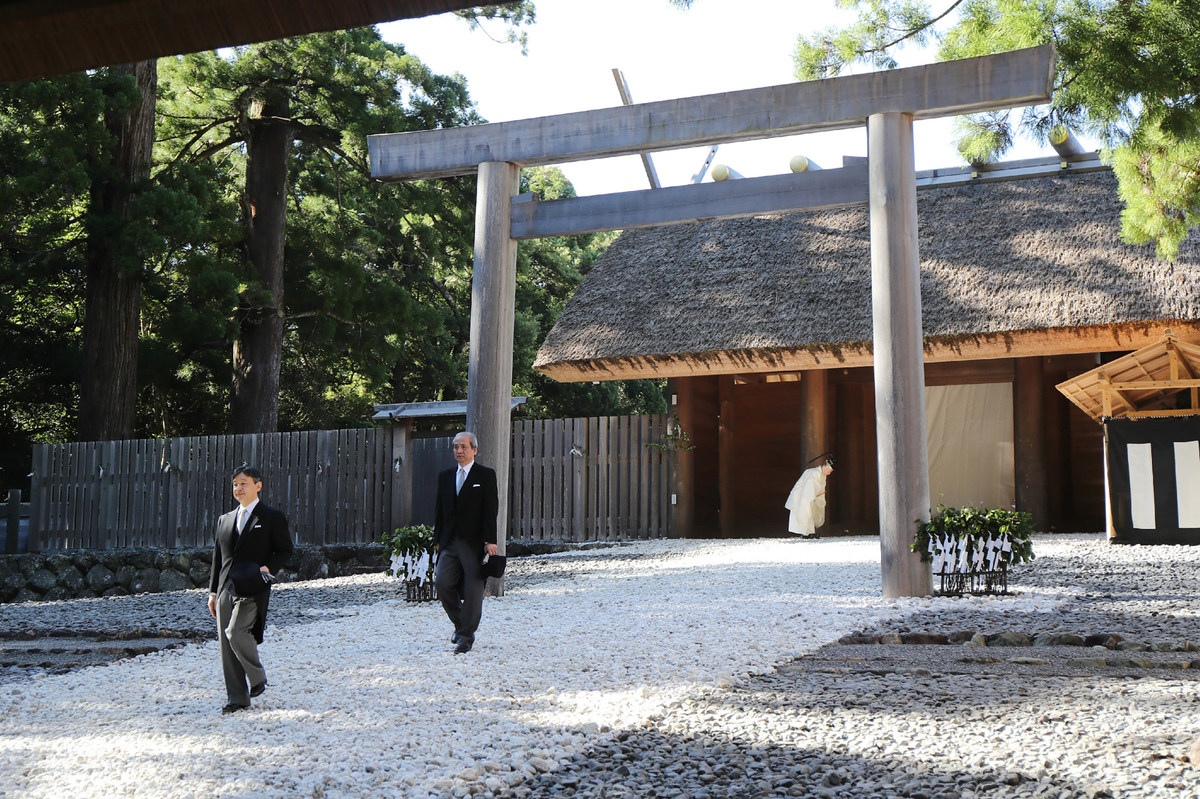 Japanese Crown Prince Naruhito visits the inner shrine of the Ise Grand shrine
