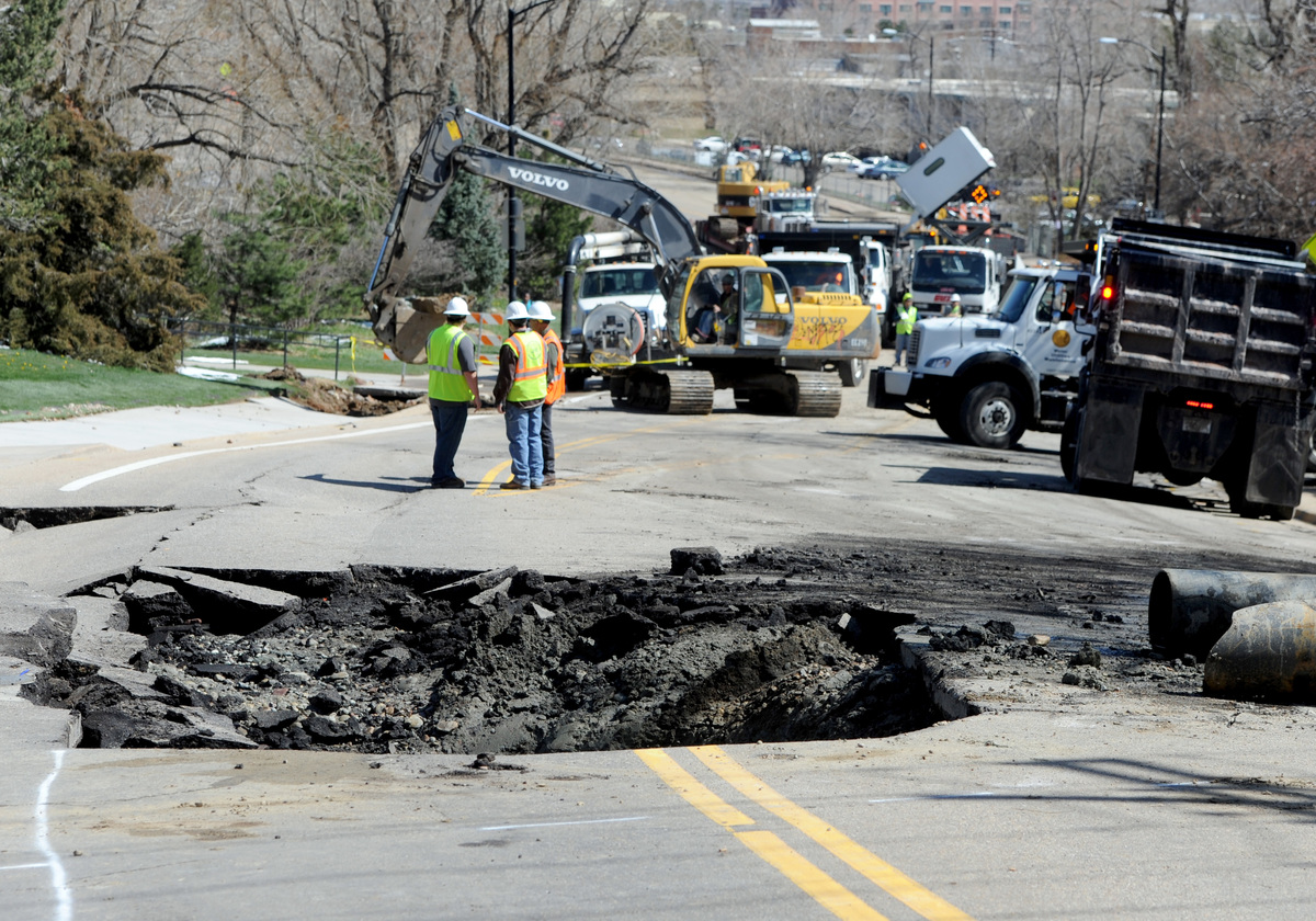 Work continues on the sinkhole on Folsom Street at Stadium Drive.