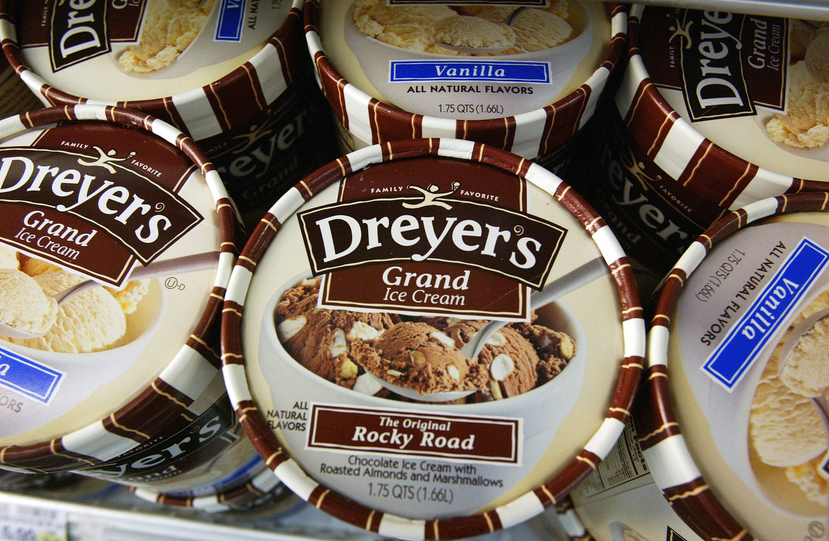 Dreyer's Grand Ice Cream is seen on shelves at a Safeway store May 27, 2003 in Belmont, California.