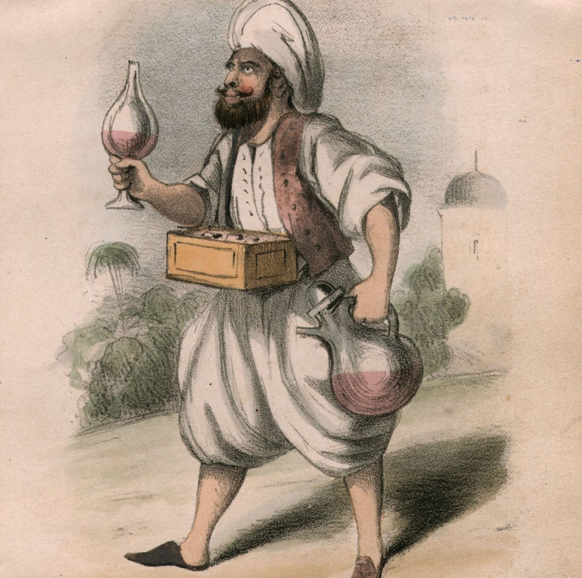 circa 1820: A man selling drinks of sherbet in the street.