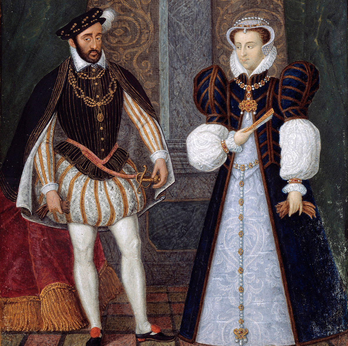 Portraits of Henry II (1519-1559) and Catherine de Medicis (Caterina de Medici) (1519-1589), King and Queen of France.