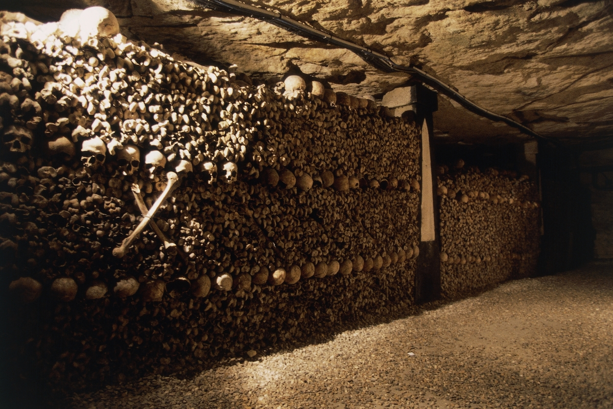 Ossuary in the catacombs of Paris, France