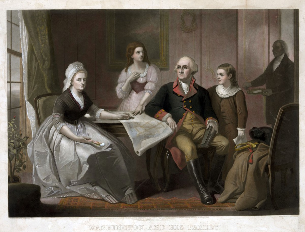 ashington and his family: George and Martha Washington seated at table, Nelly Custis and George Washington Custis standing, servant entering the room.