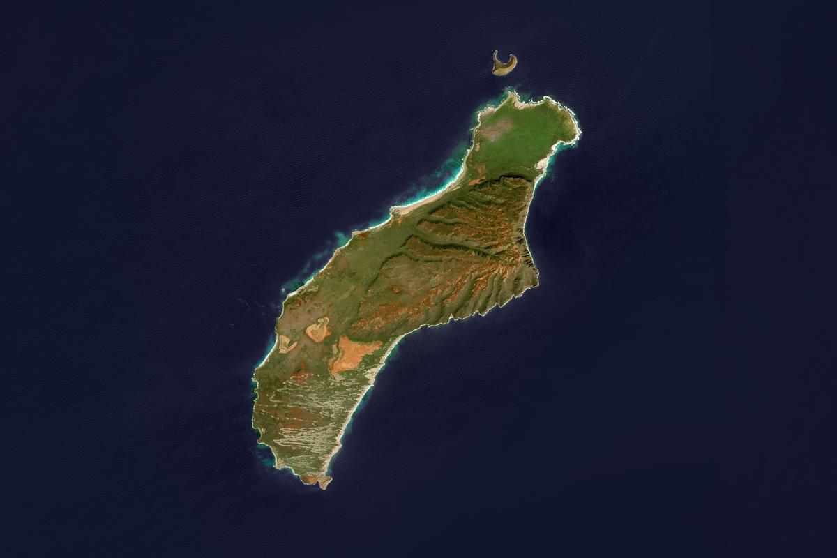 This is an enhanced Sentinel Satellite Image of the Hawaii island of Niihau.