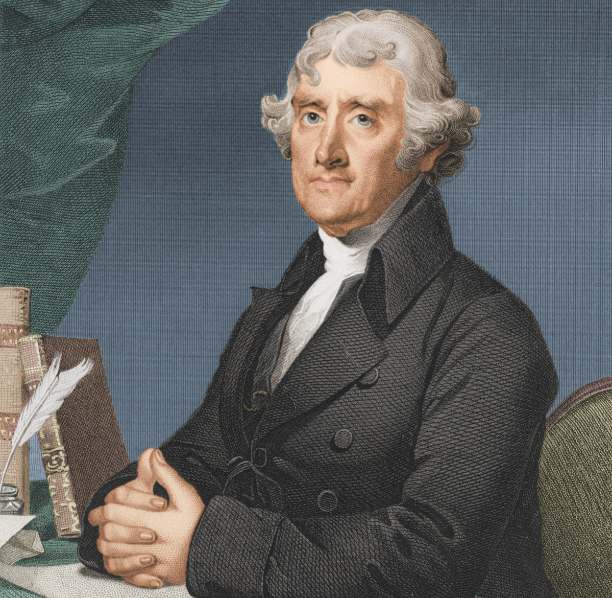Colorized engraved portrait of American President Thomas Jefferson (1743 - 1826), early 1800s.