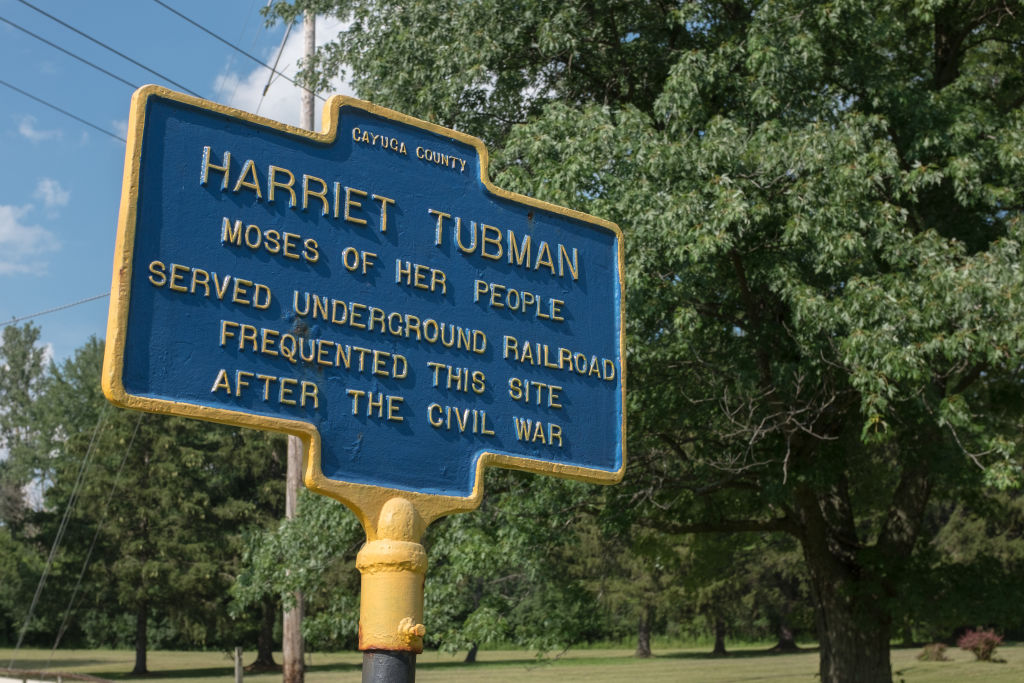 GettyImages-827407728 A sign marking the historic spot where American abolitionist and humanitarian Harriet Tubman (1820-1913) lived, served and frequented in Auburn, New York