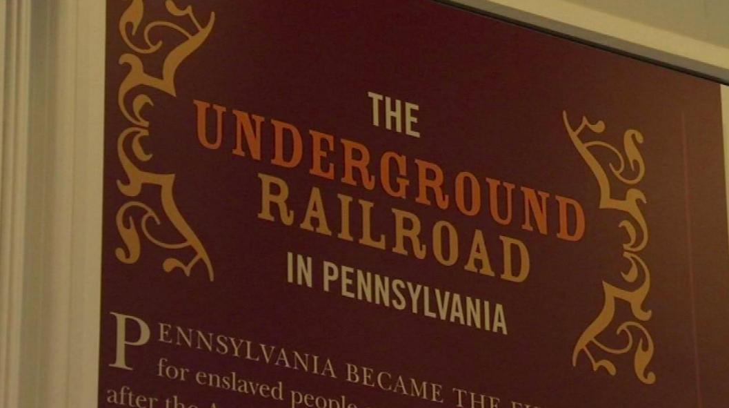 red old underground railroad sign