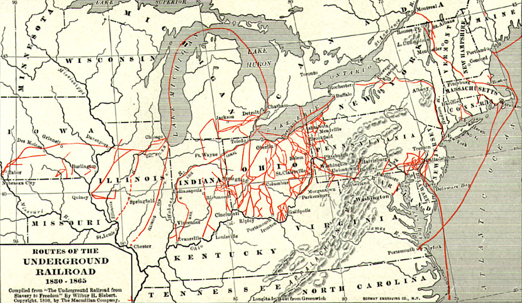 map of routes of the underground railroad