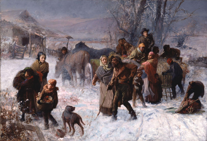 oil painting of the underground railroad