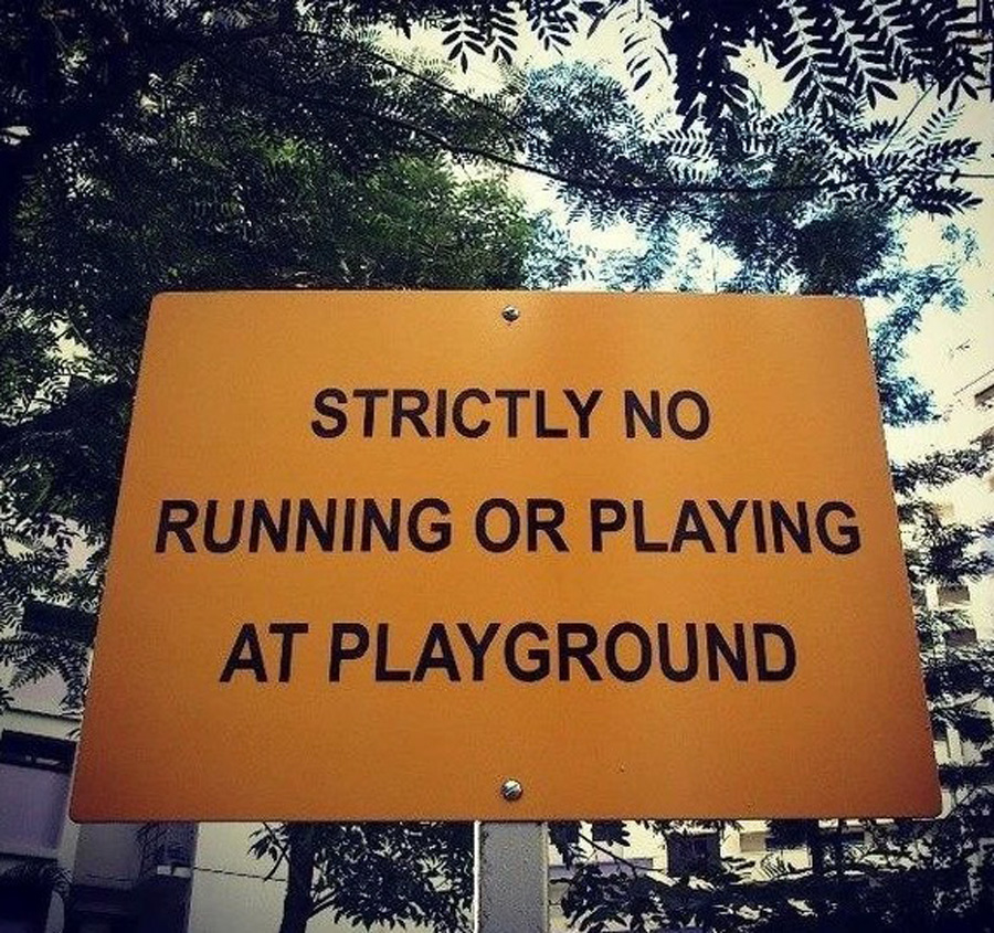 no playing at playground sign in singapore