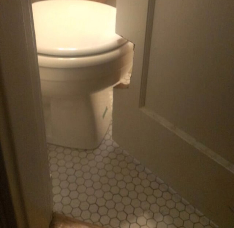creating a hole in the door for the toilet