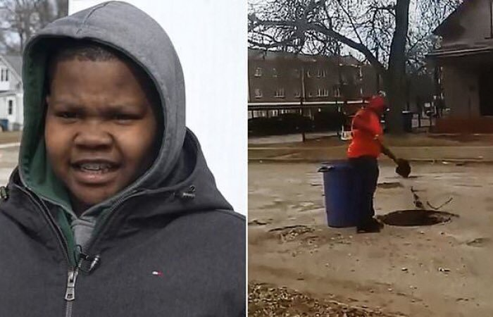 twelve-year-old Monte Scott filled potholes in his hometown in Michigan
