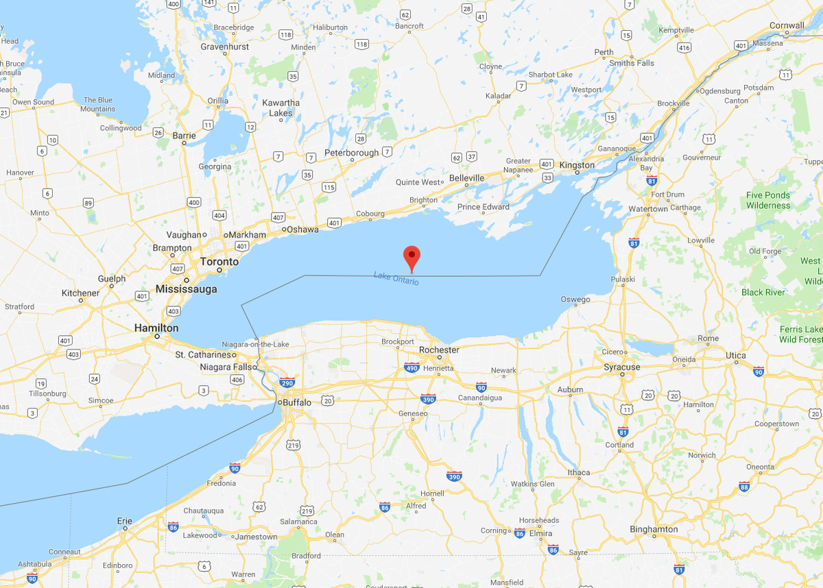 Google Maps Shows Ontario Lake on a map that also reveals southern Canada and north-eastern United States.