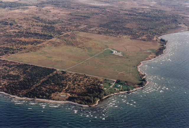 An aerial view shows the coast of Ontario Lake near Point Petre