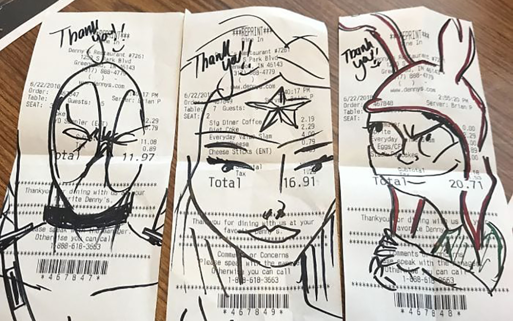 Receipts with drawings on them