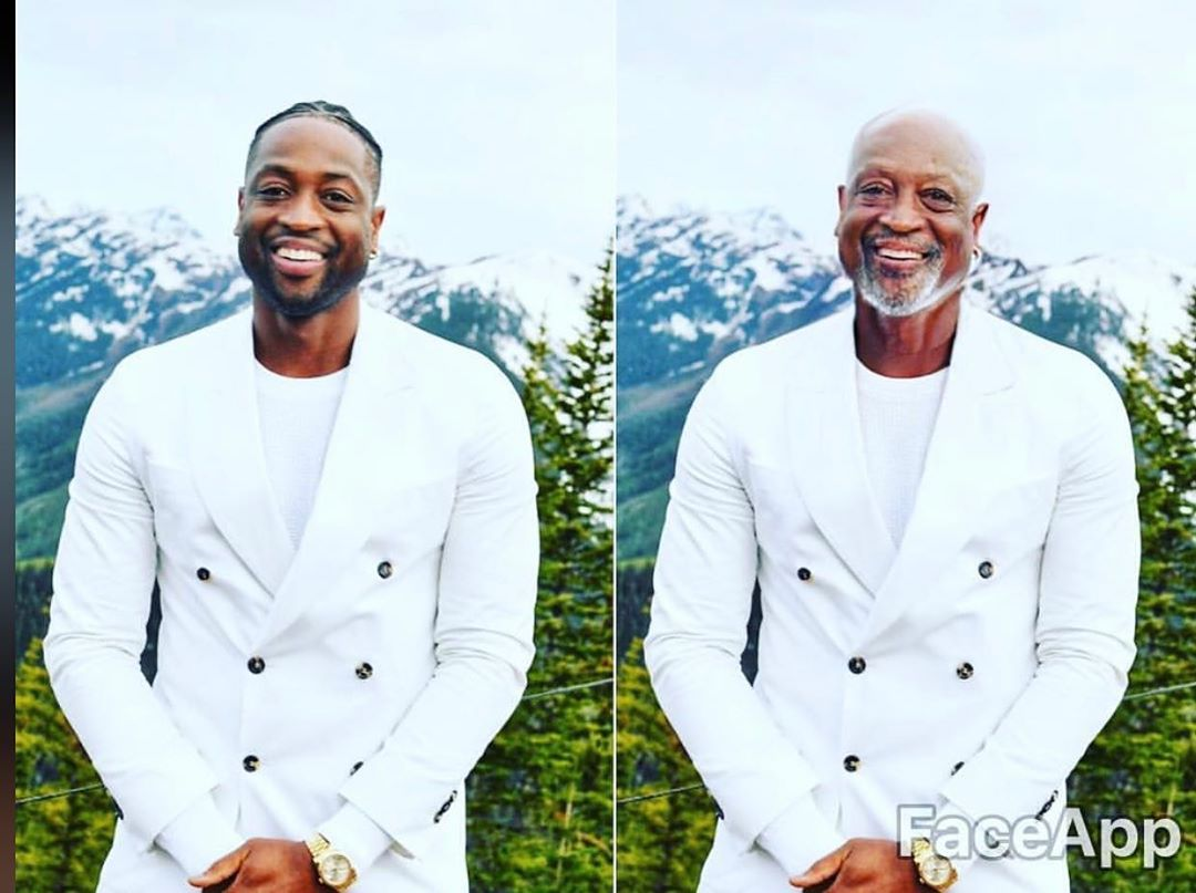 dwyane wade with the faceapp aging filter
