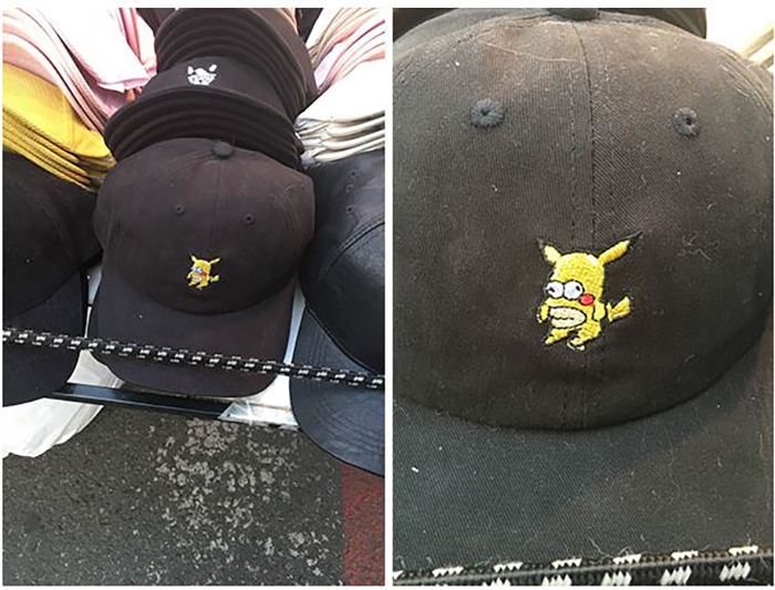 A South Korean thriftstore hat with pikachu and homer mixed together