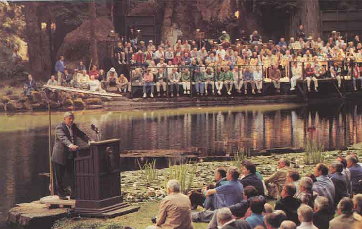 Men gather around speech at Bohemian Grove