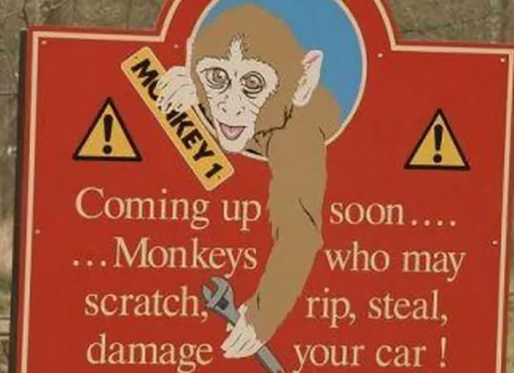 Monkey warning sign