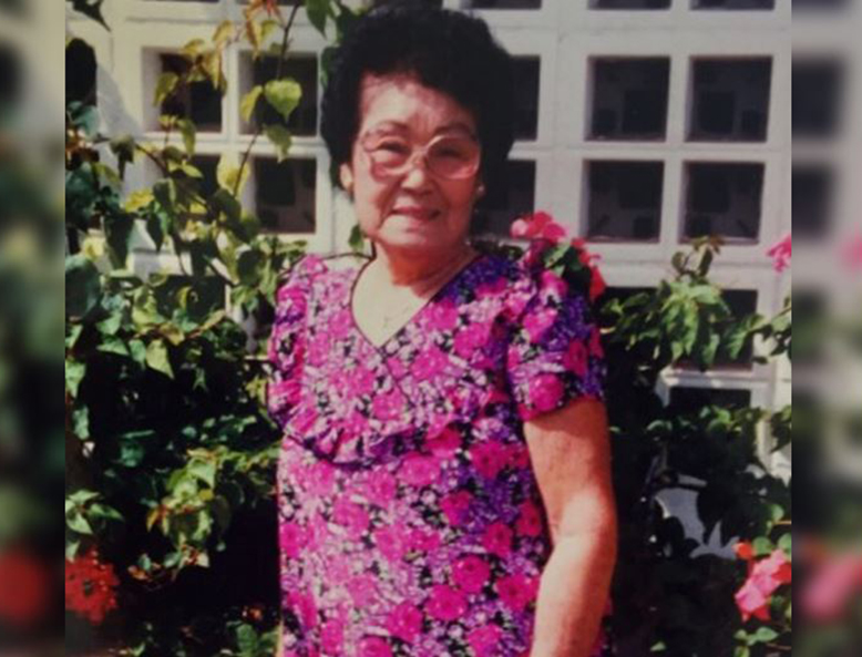 Photo of Florence Kamei, Shannon's great-grandmother, wearing Shannon's thrifted muumuu