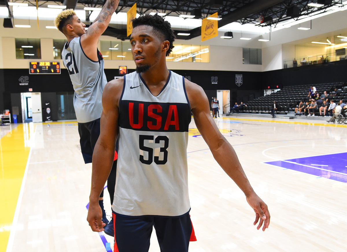 Donovan Mitchell #53 looks on during the 2019 USA Men's National Team World Cup