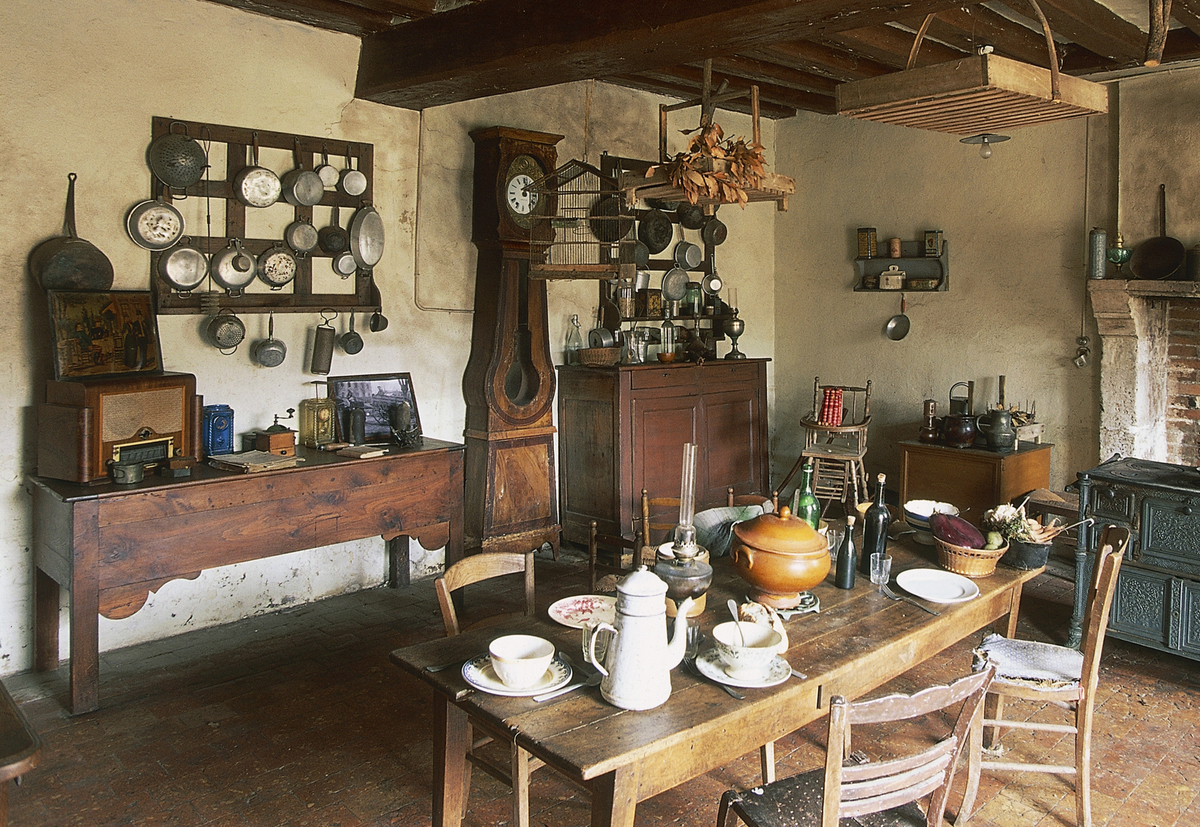 Dining room of a farm in France