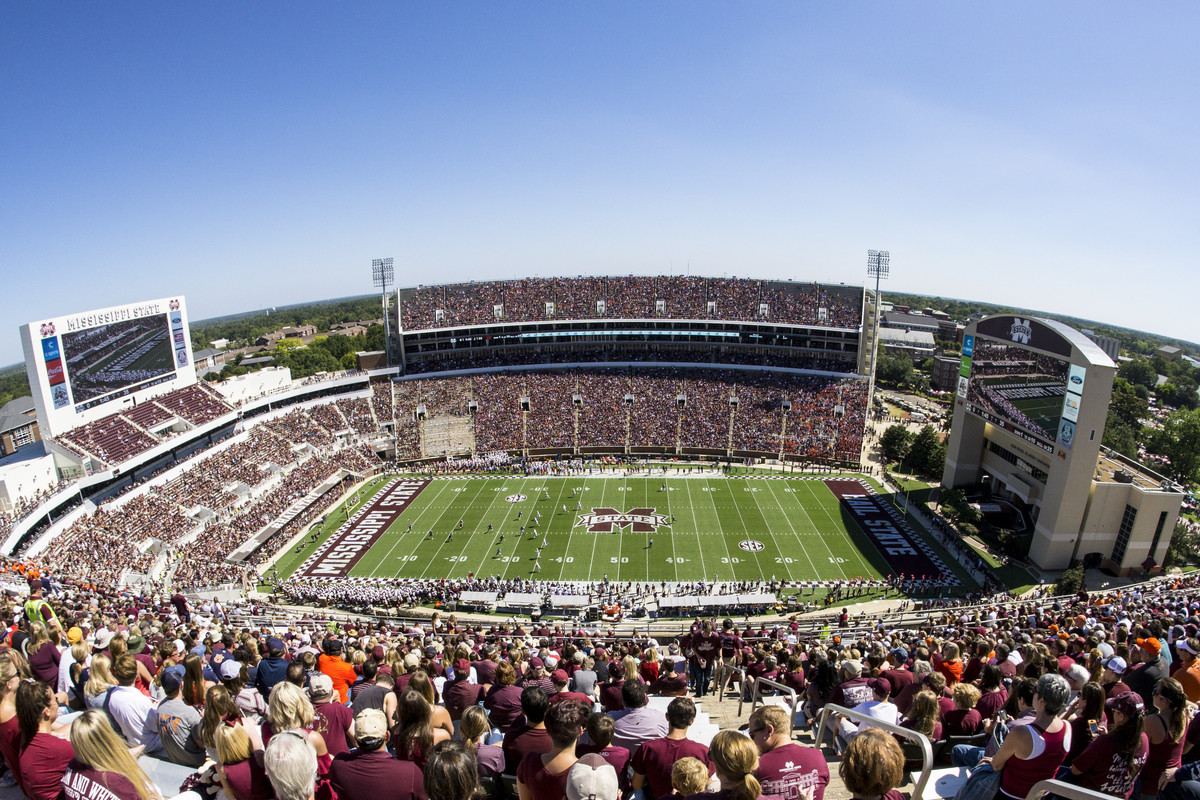 A wide angle view of Davis Wade Stadium during the Auburn Tigers in Mississippi