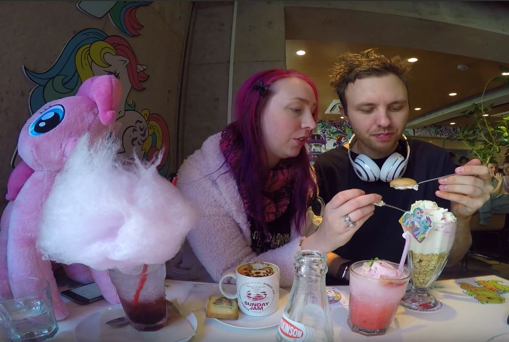 Customers eating desserts at the My Little Pony Cafe in Harajuku, Tokyo