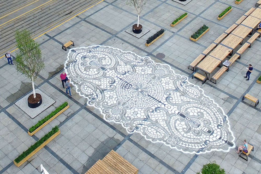 lace artwork on the street