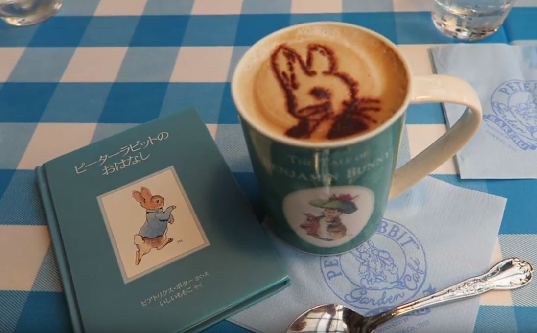 coffee and book at the Peter Rabbit Cafe in Tokyo