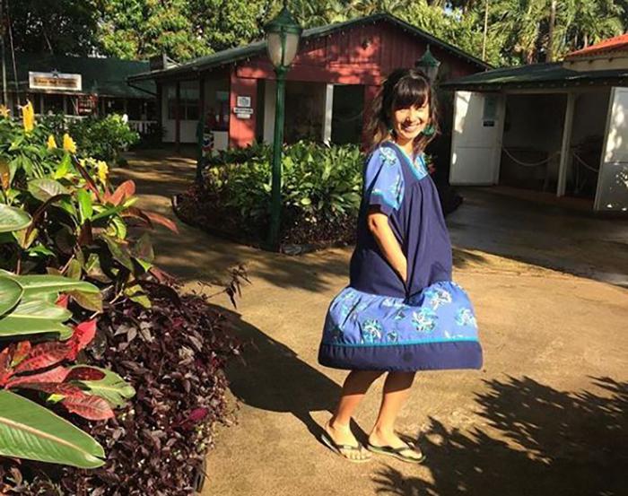 Shannon Hiramoto visiting Ruh during muumuu month