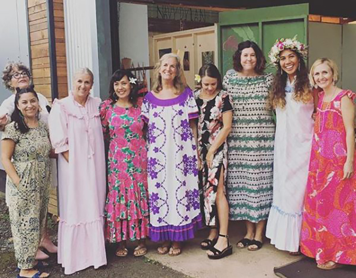 Shannon poses with fellow muumuu lovers on Day 13 of muumuu month