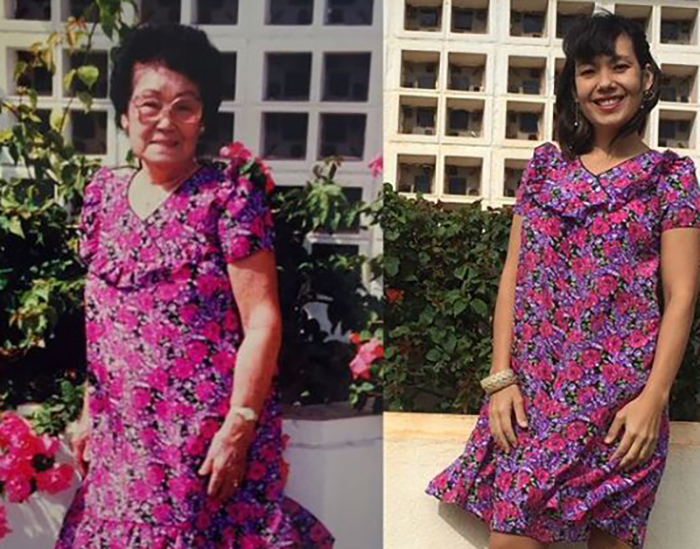 Shannon Hiramoto recreates Florence Kamei's photo in her inherited muumuu